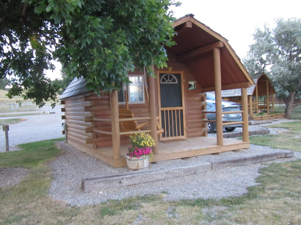 Cabin with swing out front and firepit