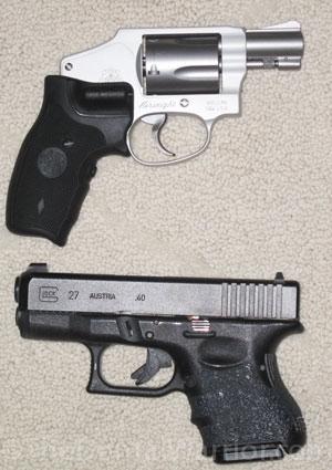 Top: RevolverBottom: Semi-auto pistol