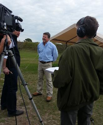 Brett being interviewed by Brian Sullivan