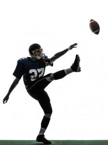 american football player man kicker kicking silhouette