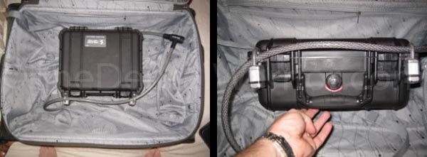 Once the hard-side case is locked, I run a cable-lock through the shackles and around the frame of the outer suitcase. I cut a couple of slits in the suitcase liner to access the metal frame.