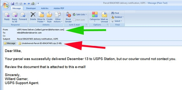 "Notice the ""from"" email address (green arrow). It's not a UPS address. The email asks you to open the attached file (red arrow). Do. NOT. Do. That!"
