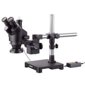 3.5X-45X Black Trinocular Stereo Zoom Microscope on Single Arm Boom Stand