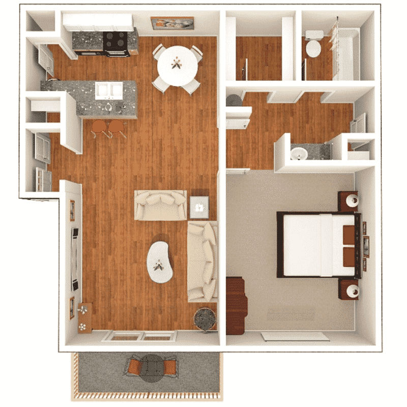 1 Bed 1 Bath 753 Sq. Ft. floor plan