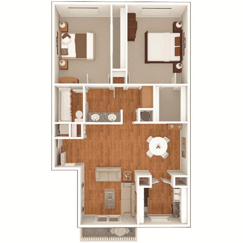 2 Bed 1 Bath 950 Sq. Ft. floor plan