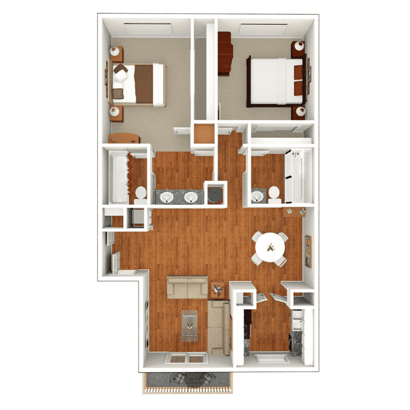 2 Bed 2 Bath 950 Sq. Ft. floor plan