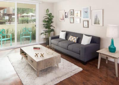 Living room with furniture and decor