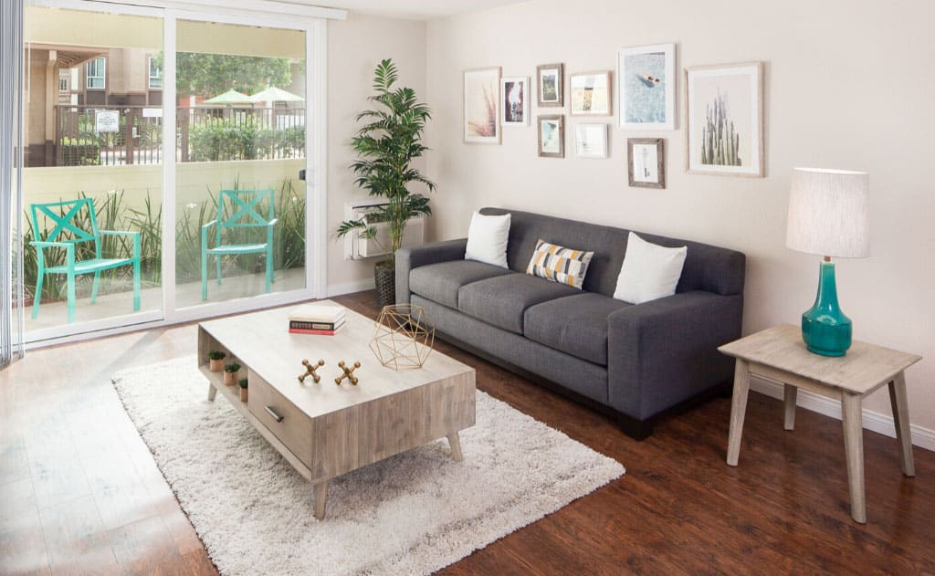 Living room with furniture, windows, and decor