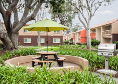 Picnic area with tables, BBQ grill, green umbrellas, and landscaping