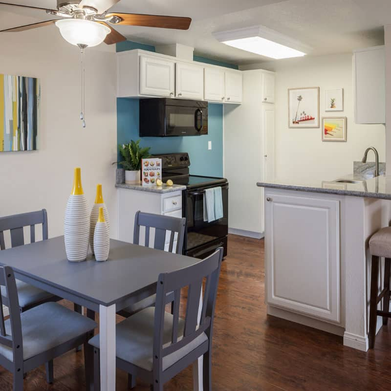Kitchen and Dining Area with Decor and Furniture