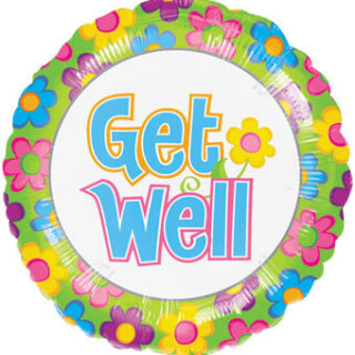 get well balloon with flowers