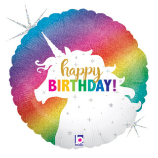 round rainbow happy birthday balloon
