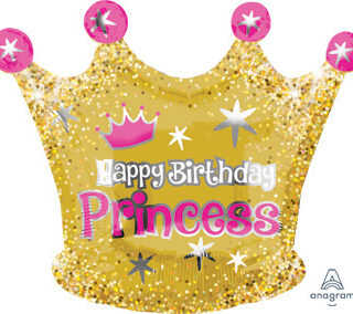 glittering princess crown balloon