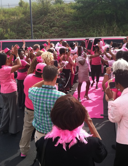 Our Pink Limo participating in a Charlotte NC Breast Cancer Awareness celebration in October