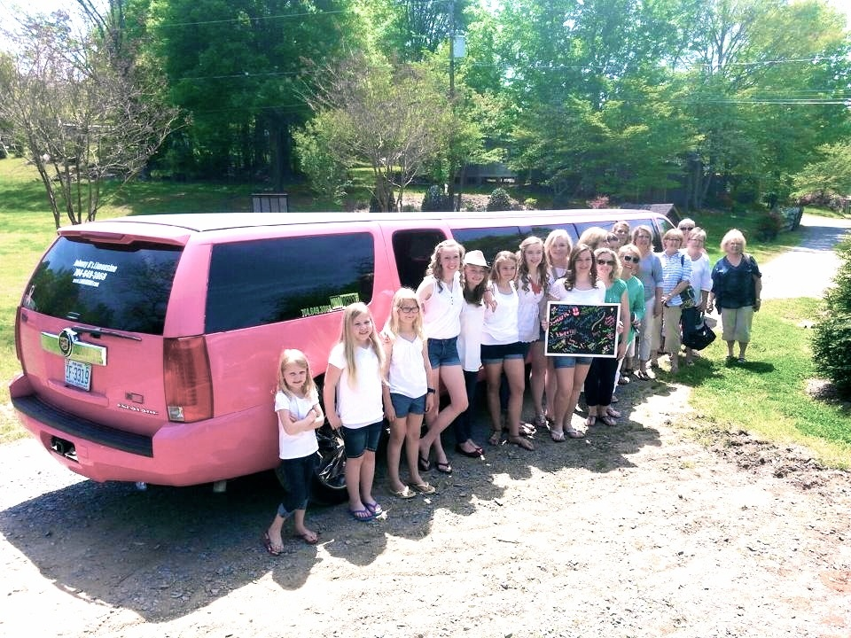 Girls birthday party with Johnny B's Pink Limousine in CHarlotte NC