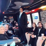 Limo Party Bus transporting wedding guests to the Holiday Inn Express in Monroe NC