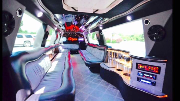 interior white Lincoln Navigator limo