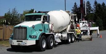 concrete mixer truck in action