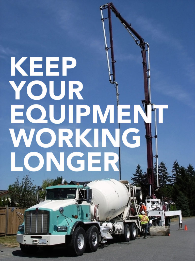 Image of a Concrete Truck with text saying Keep Your Equipment Working Longer with DuraFit