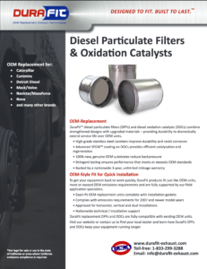 DuraFit flyer for the DPF and DOC