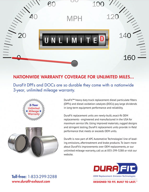 Ad showing DuraFit has 3 year Nationwide Warranty Coverage for unlimited miles