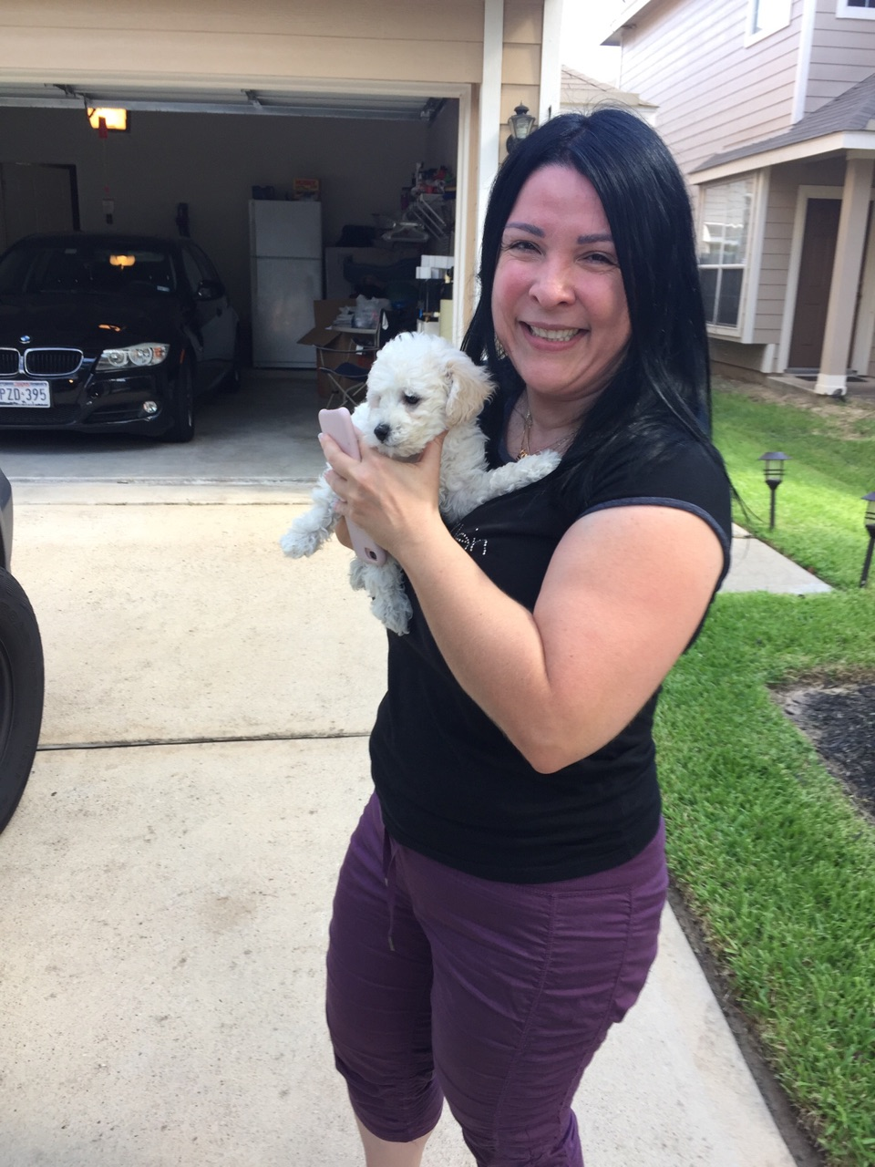 Claudia Espinosa and her new Bichon Frise puppy 'Louis Vitton'!