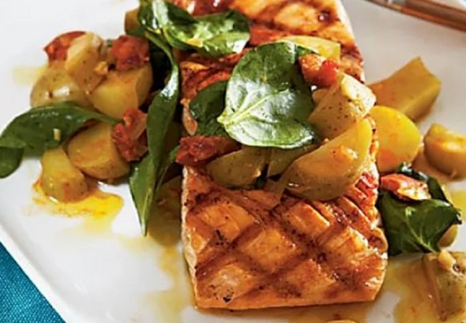 Grilled Salmon & Portuguese Sausage