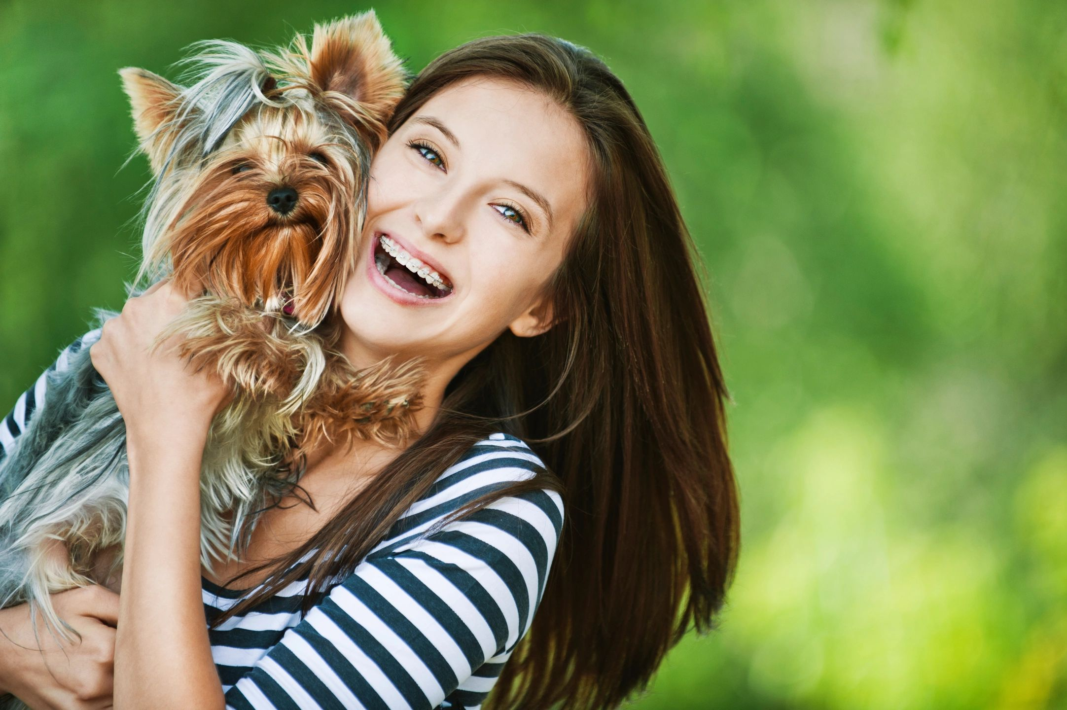 Young woman and her terrier