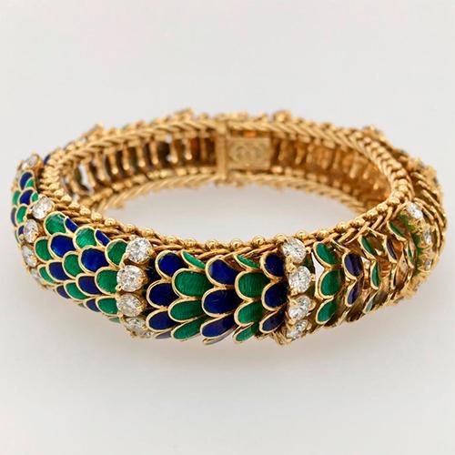 Italian Diamond, Enamel and Gold Bracelet