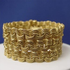 18 Karat Yellow Gold Wide Woven Bracelet