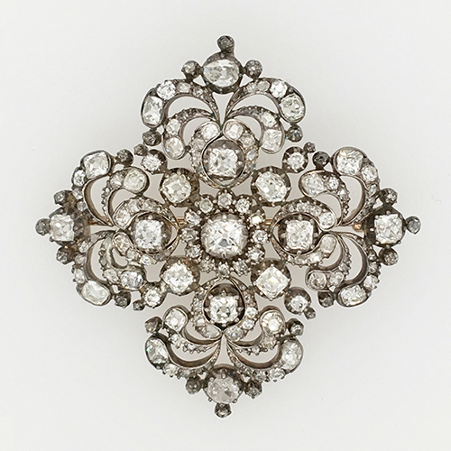 Antique Silver Topped Gold and Diamond Brooch