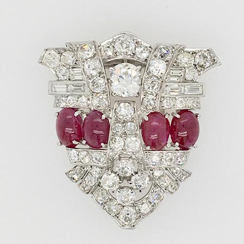 Art Deco Diamond and Ruby Brooch