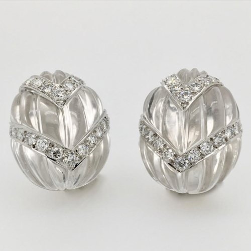 Carved Rock Crystal and Diamond Earrings