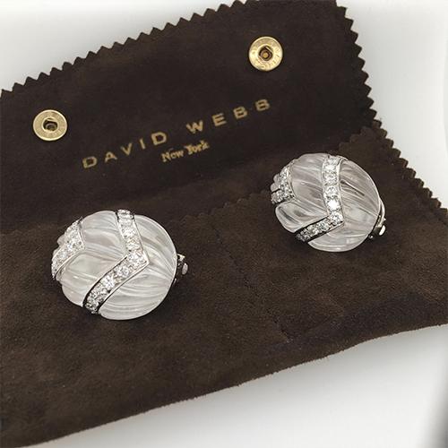Crystal and Diamond Earring by David Webb