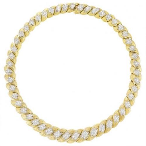 Diamond Textured Link Necklace