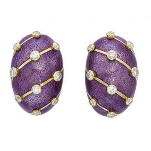 Diamond and Purple ear clips