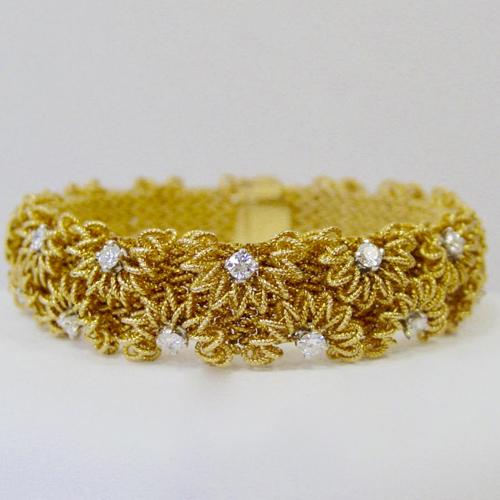 French 18 Karat Yellow Gold and Diamond Bracelet
