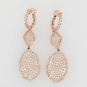 18 Karat Rose Gold and Pave Diamond Drop Earrings