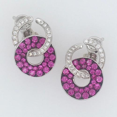 18 Karat White Gold, Pink Sapphire and Diamond Ear Clips
