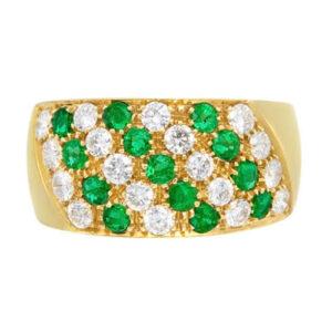 18 Karat Yellow Gold Diamond and Emerald Ring