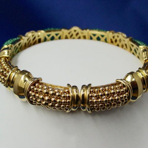 18 Karat Yellow Gold, Emerald, Diamond and Ruby Choker