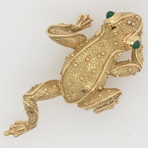 18 Karat Yellow Gold Frog Brooch