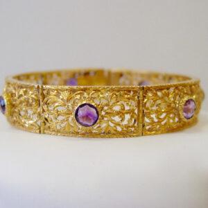 18 Karat Yellow Gold Openwork and Amethyst Bracelet