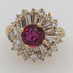 18 Karat Yellow Gold, Ruby and Diamond Ring by Kurt Wayne