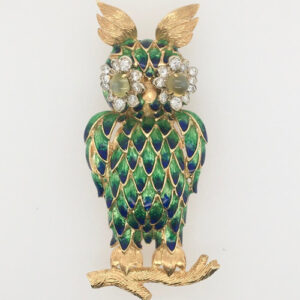 18 Karat Yellow Gold and Enamel Owl Brooch