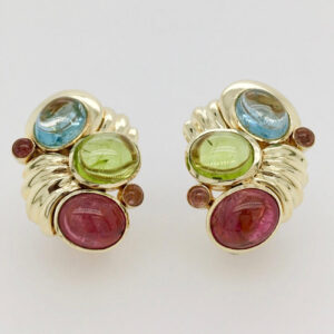 18 Karat Yellow Gold and Gemstone Clip Earrings