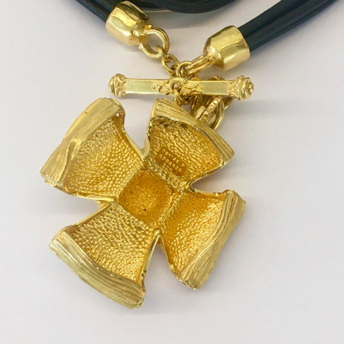 22 Karat Yellow Gold and Leather Cross Necklace by Denise Roberge