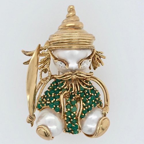 Cultured Pearl,Marquise Diamond and Green Bead Figurative Brooch