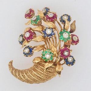 En Tremblent Floral Brooch
