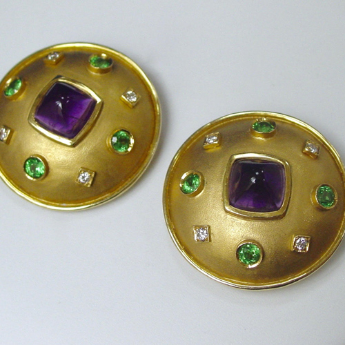 Green Garnet and Diamond Clip Earrings